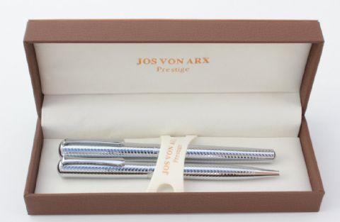 Jos Von Arx Prestige WR14 Ballpoint and Rollerball Wave Pattern Pen Set